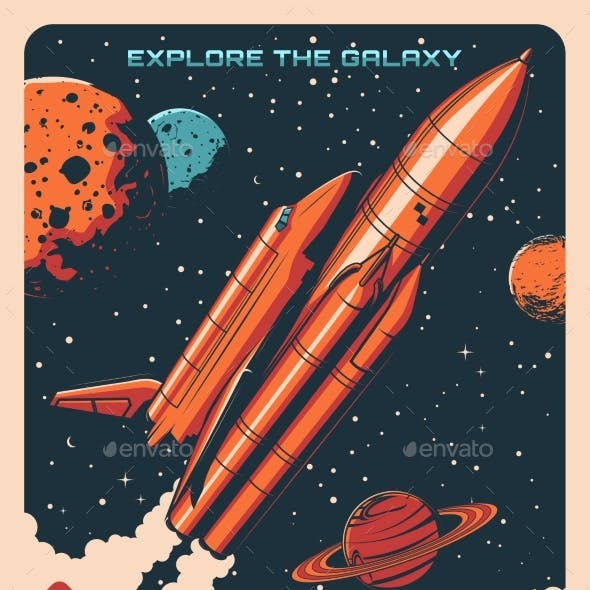 Space Planets and Spaceship Astronomy Poster