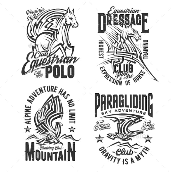 Tshirt Prints with Horse and Eagle Vector Mascots