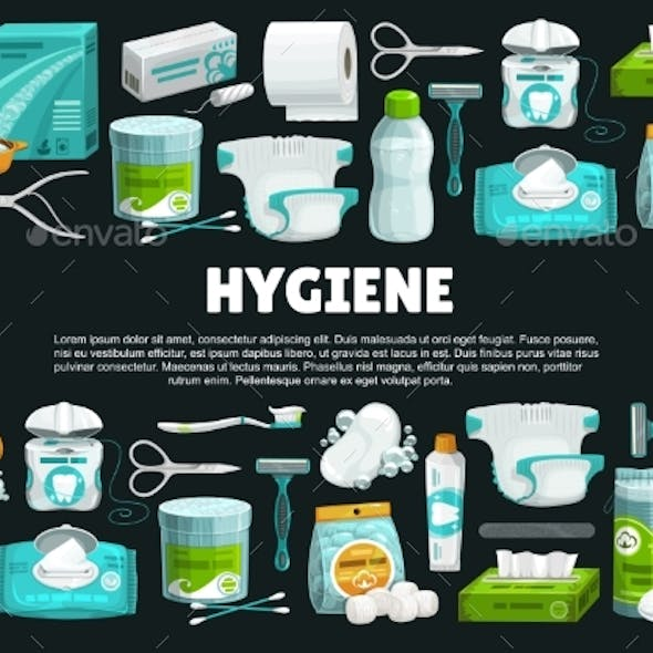 Personal Hygiene Products and Tools Vector Banner