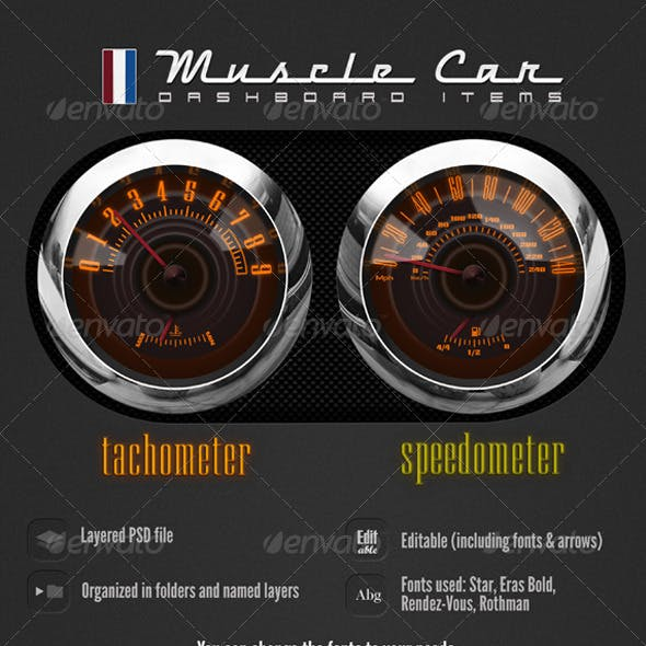 Muscle Car Dashboard Realistic Items