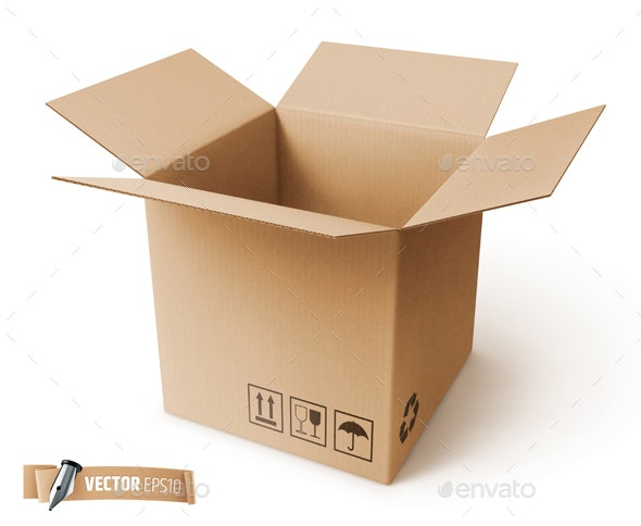 Vector Realistic Cardboard Box - Objects Vectors