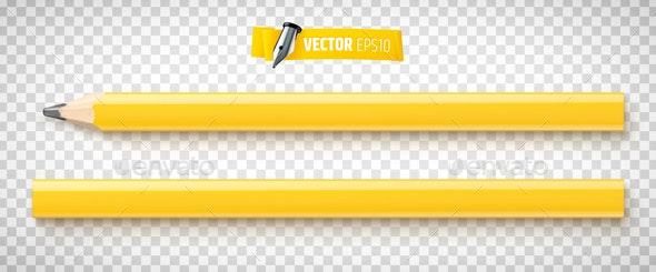 Vector Realistic Carpenter Pencils - Objects Vectors