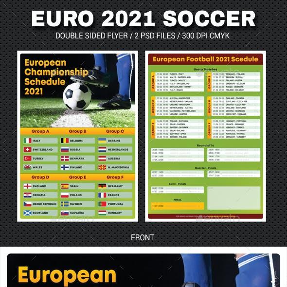 European Soccer Football Championship 2021 Schedule Flyer 2