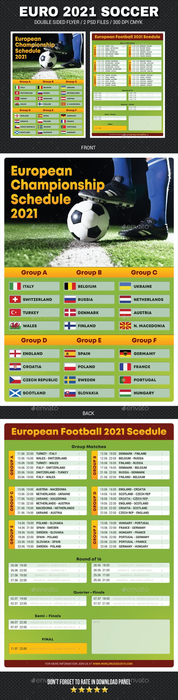 European Soccer Football Championship 2021 Schedule Flyer 2 - Sports Events