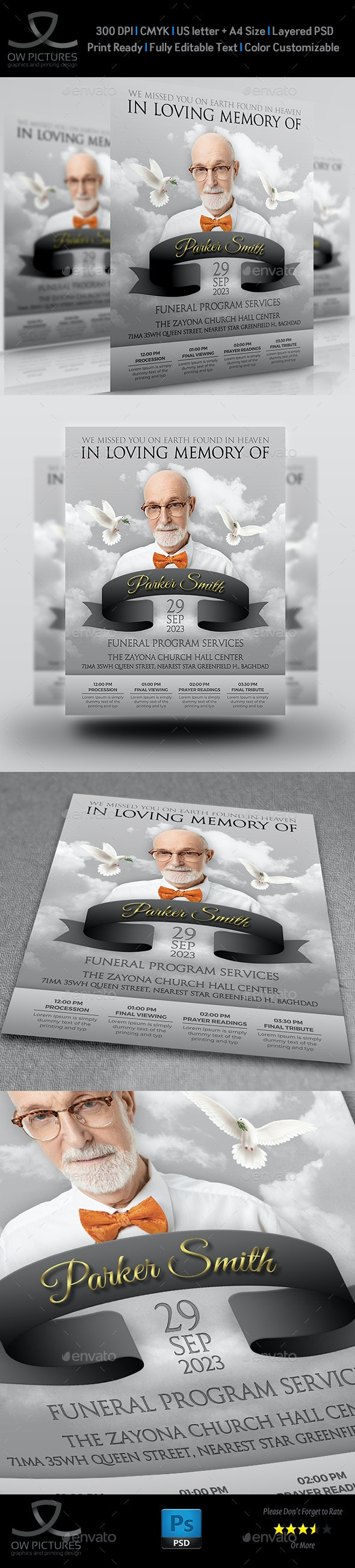 Memorial and Funeral Program Flyer Template - Flyers Print Templates