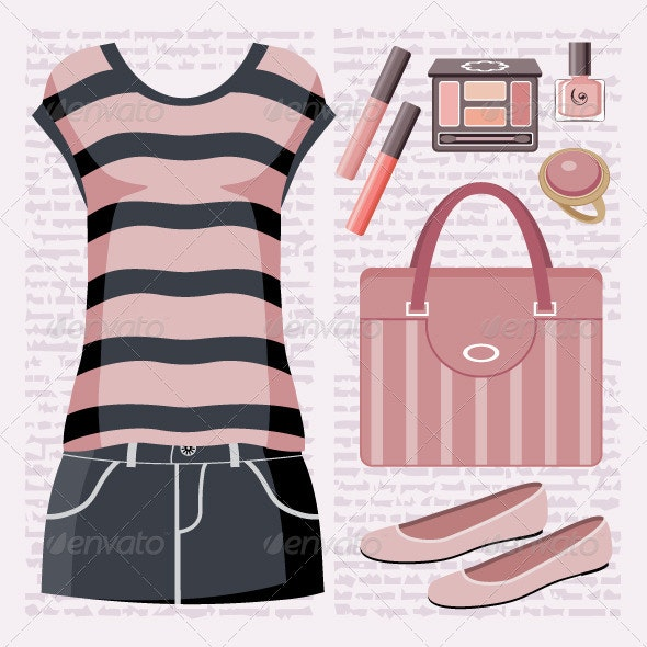 Fashion set with a top and a skirt. - Conceptual Vectors