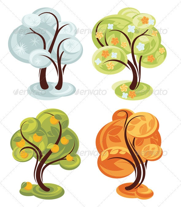 Four Season Trees - Seasons Nature