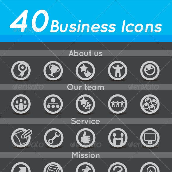 40 Business Icons in 8 Themes