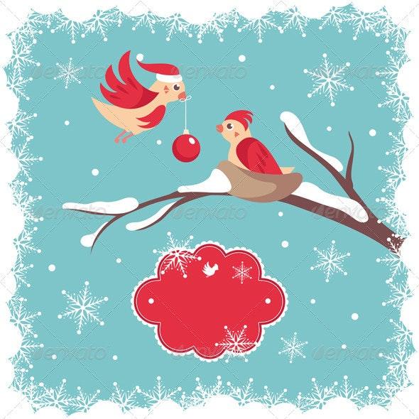 Christmas Card With Birds - Christmas Seasons/Holidays