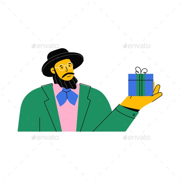 Portrait of Jew with Beard Wearing Hat and Glasses - Seasons/Holidays Conceptual