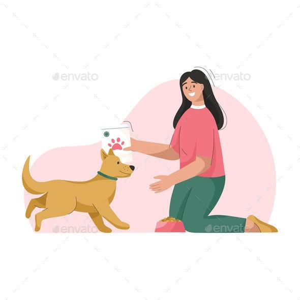 Woman is Feeding Dog - Animals Characters