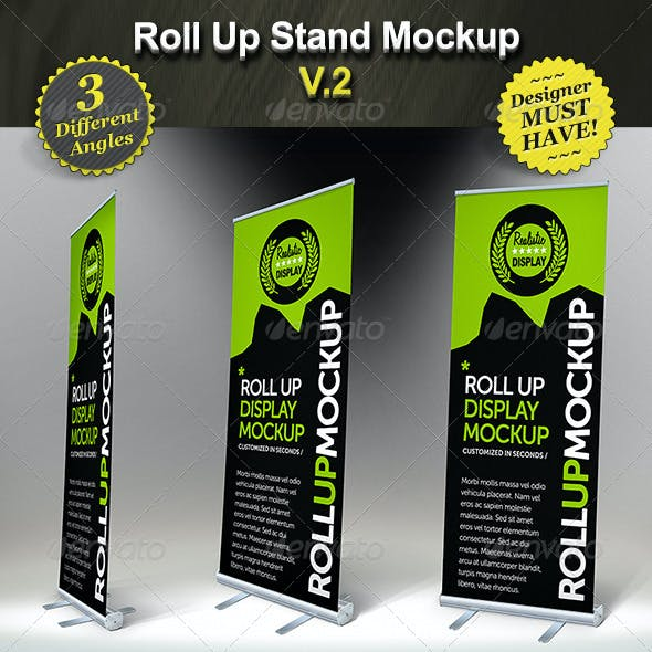 Roll Up Stand Mockup - Smart Template Display