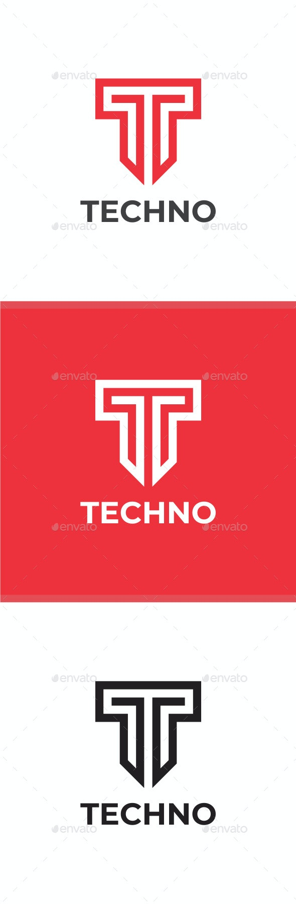 Techno - Letter T Logo - Letters Logo Templates