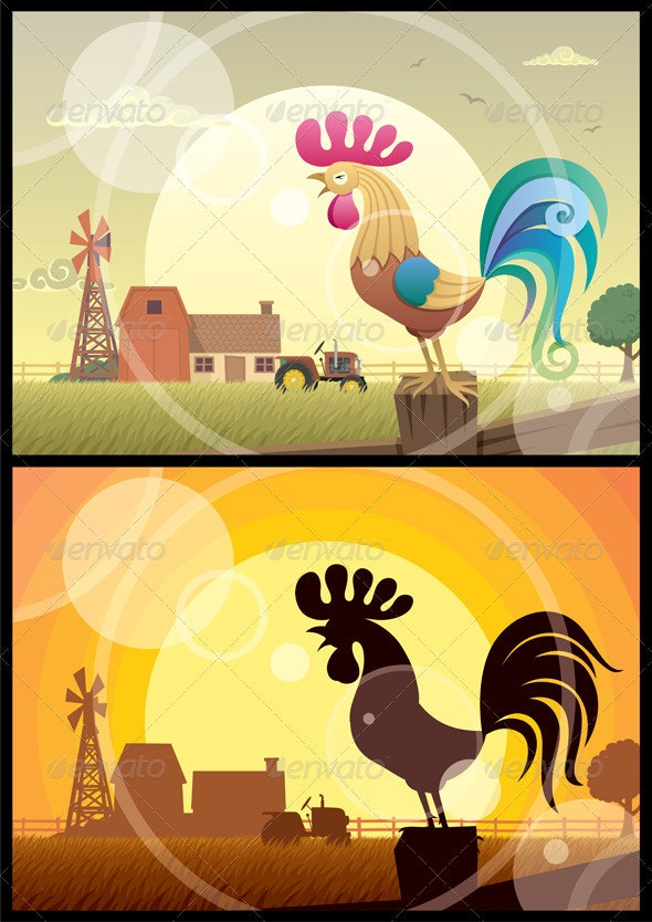 Rooster Crowing  - Animals Characters
