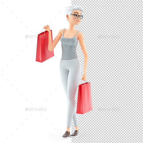 3D Senior Woman with Shopping Bags