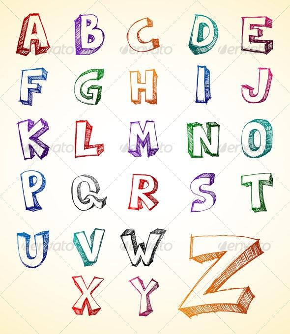 Alphabet Sketch - Decorative Symbols Decorative
