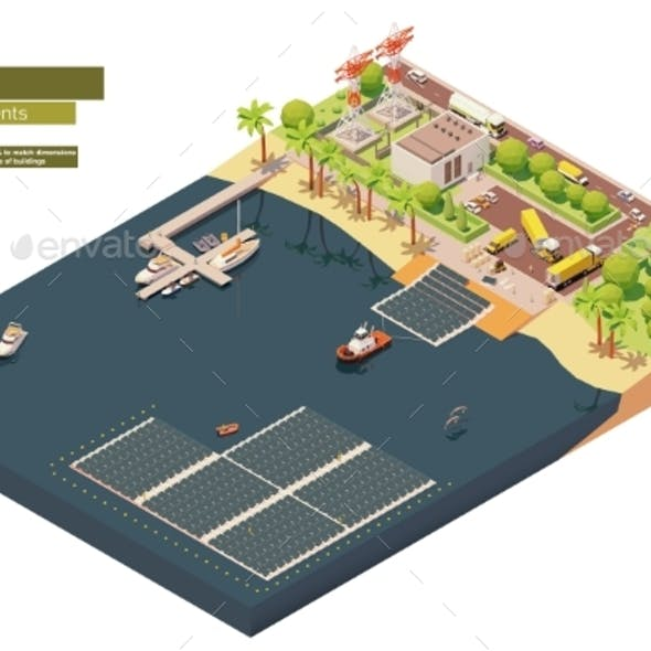 Vector Isometric Floating Solar Power Plant