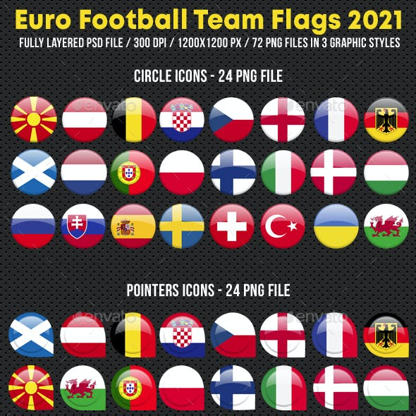 Soccer Football Flags for European Cup 2021
