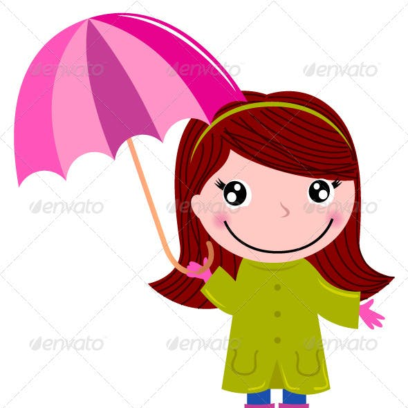 Cute little girl with Umrella in rain