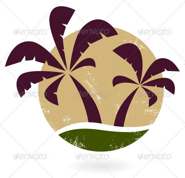 Vintage palm silhouette isolated on white - Travel Conceptual