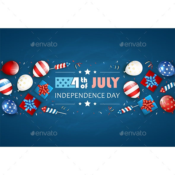 Independence Day Blue Background with Balloons and Fireworks - Miscellaneous Seasons/Holidays