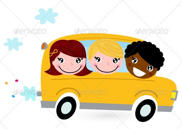 Yellow school bus with kids isolated on white - Travel Conceptual