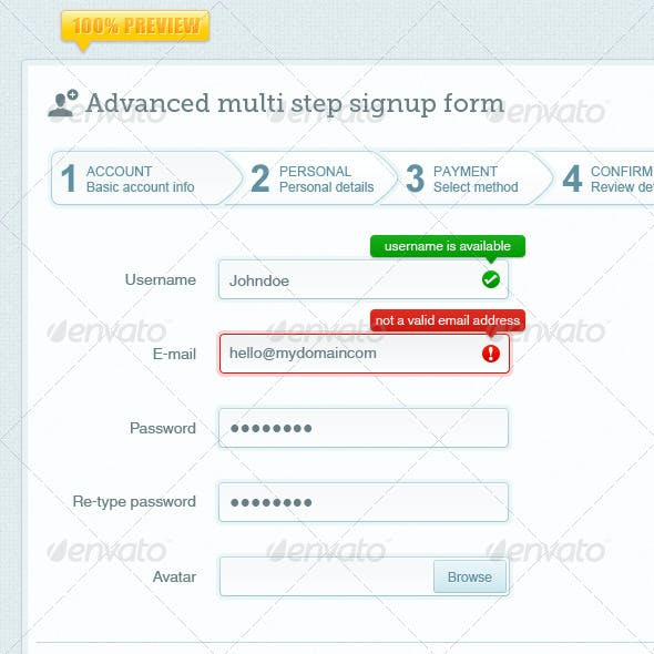 Advanced Multi Step Signup Form
