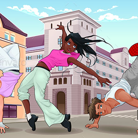 Funny Breakdancers in the City