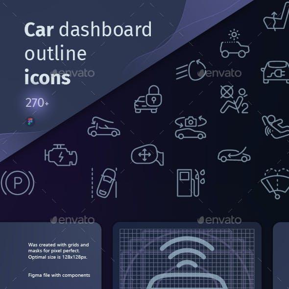Car dash outline iconset