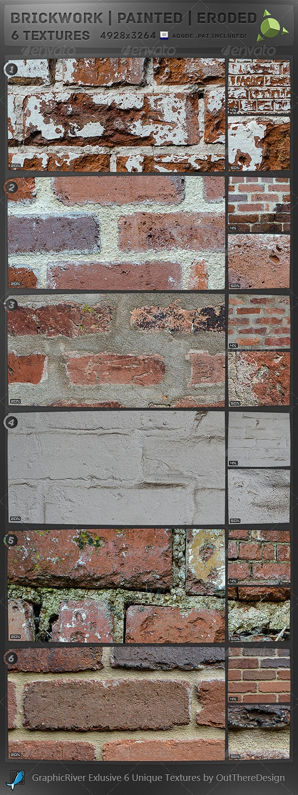 6 Brick Textures. Painted, Chipped, Old & New  - Concrete Textures