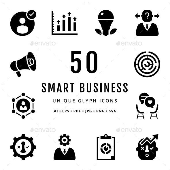 Smart Business Unique Glyph Icons