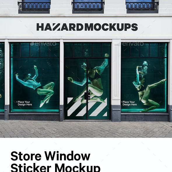 Store Window Sticker Mockup