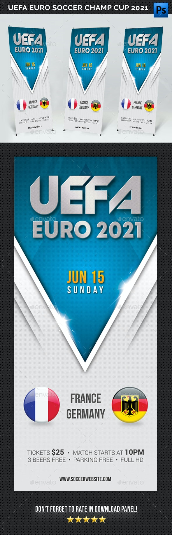 UEFA EURO Soccer Championship Cup 2021 Banner - Signage Print Templates