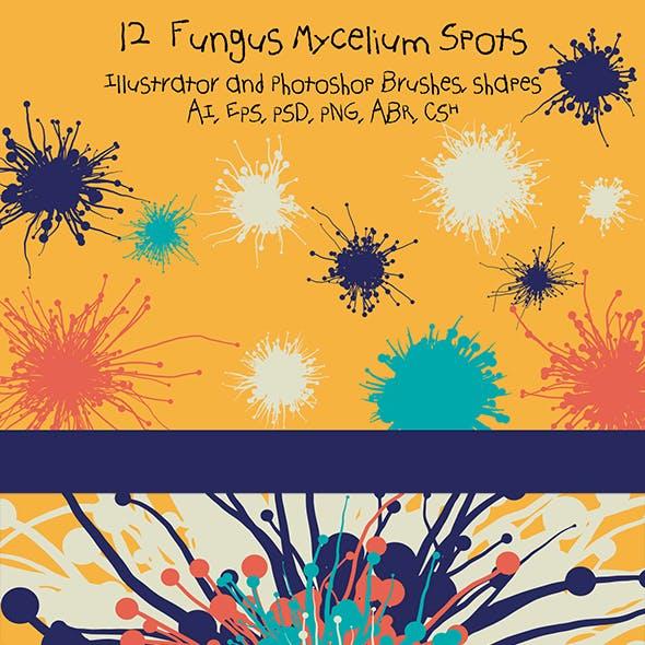 12 Fungus Mycelium Spots Illustrator Brushes + Vector Photoshop Shapes + Big HD Photoshop Brushes
