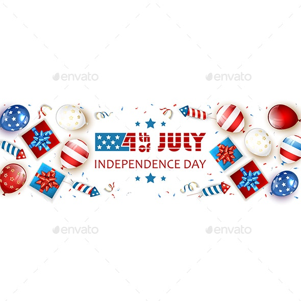 Independence Day White Background with Balloons and Fireworks - Miscellaneous Seasons/Holidays