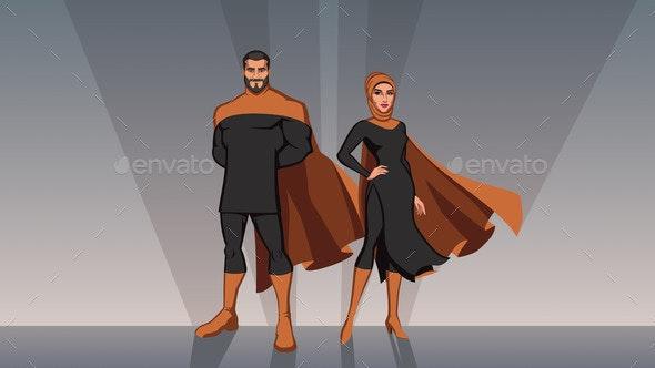 Middle Eastern Superhero Couple - People Characters