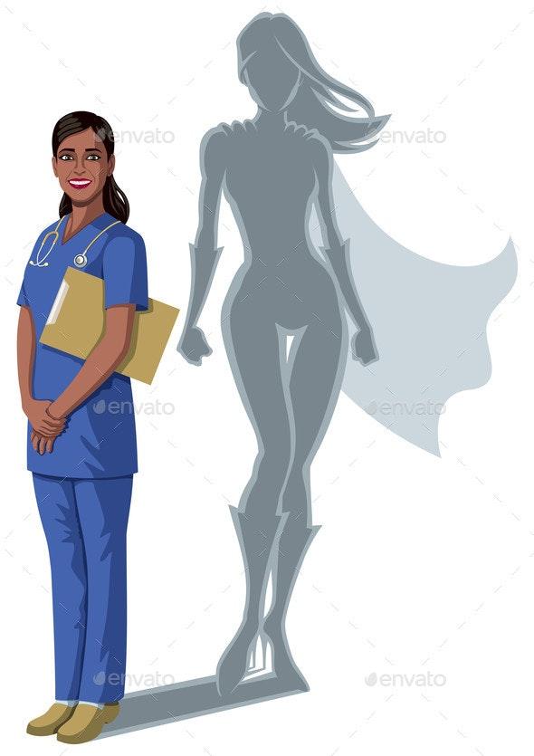 Indian Nurse Superheroine Shadow - Health/Medicine Conceptual