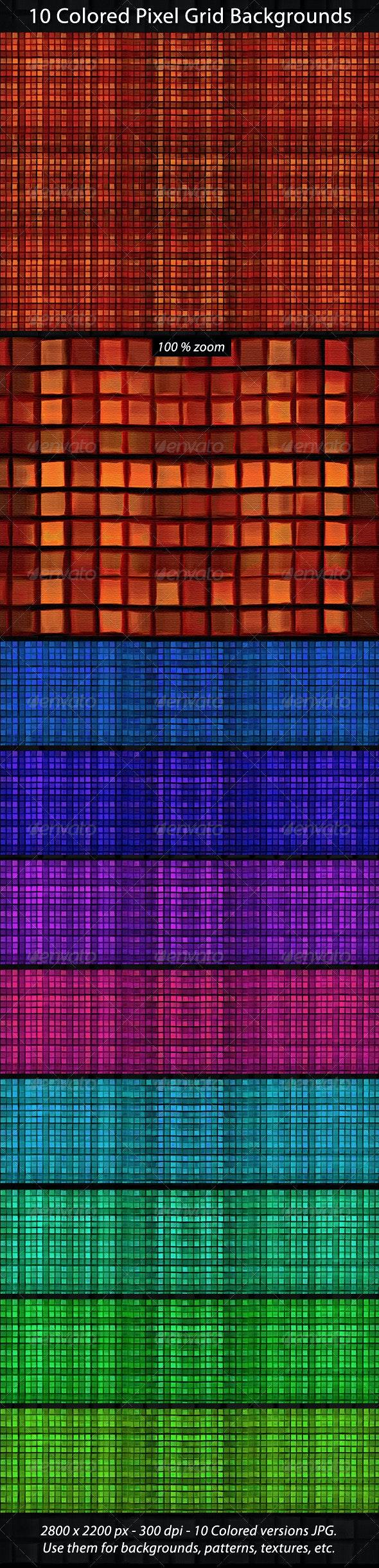 10 Pixel Grid Backgorunds - Tech / Futuristic Backgrounds