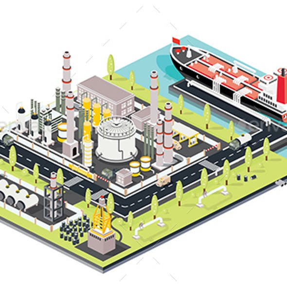 Refinery Plant. Oil Tank Farm. Maritime Port with Oil Tanker Moored at an Oil Storage Silo Terminal.