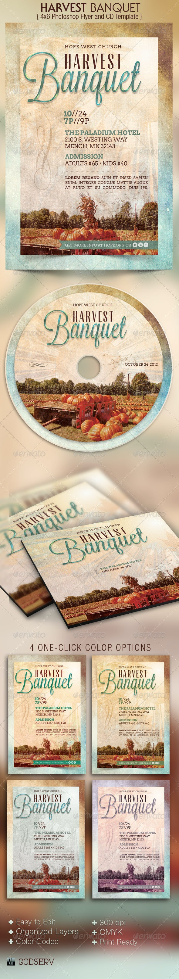 Harvest Banquet Church Flyer CD Template - Church Flyers