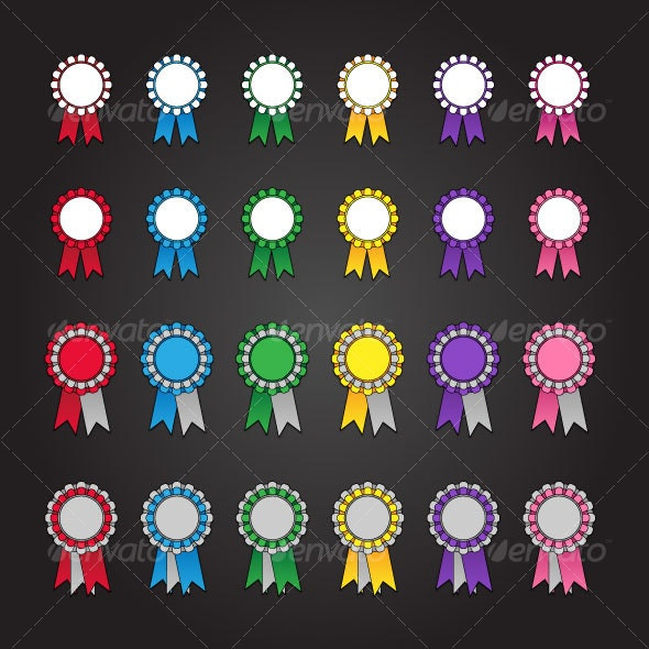 24 Rosette Icons - Man-made objects Objects