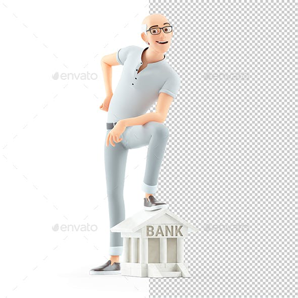 3D Senior Man Foot on Bank Building Icon