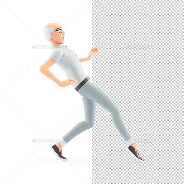 3D Senior Man Walking on Tiptoe