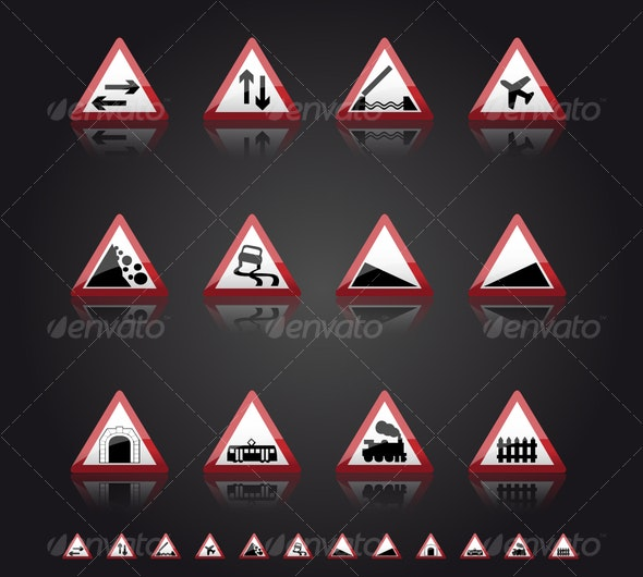 UK Road Signs: Warnings 2 - Man-made objects Objects