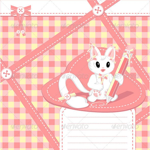 Copybook with cat pencil bows  buttons  in cell