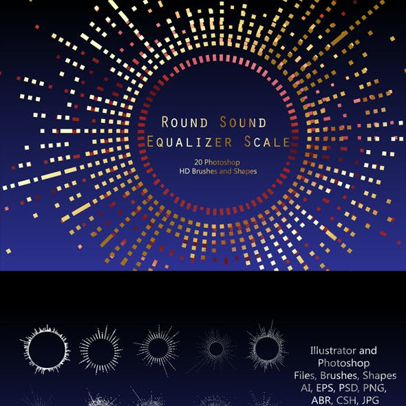 Round Sound Equalizer Scale - 20 Photoshop HD Brushes and Shapes