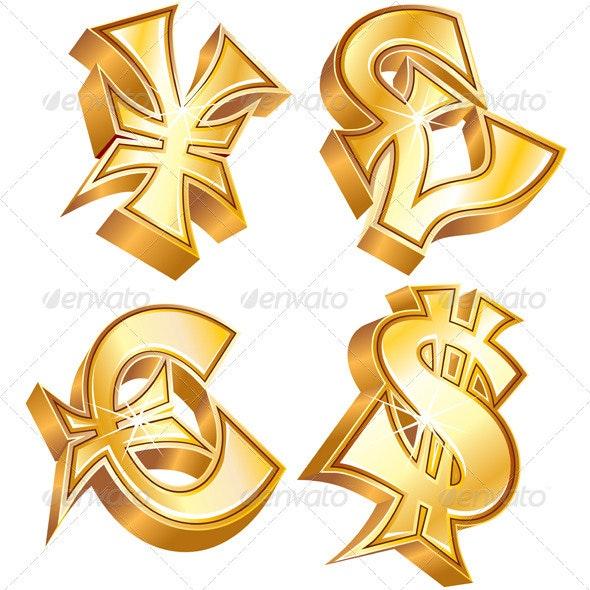 Gold Currency Symbol - Decorative Symbols Decorative