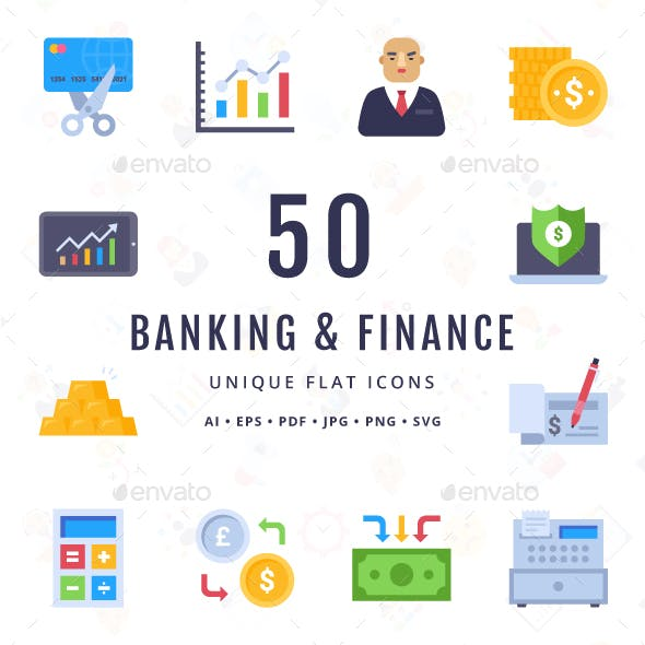 Banking and Finance Unique Flat icons