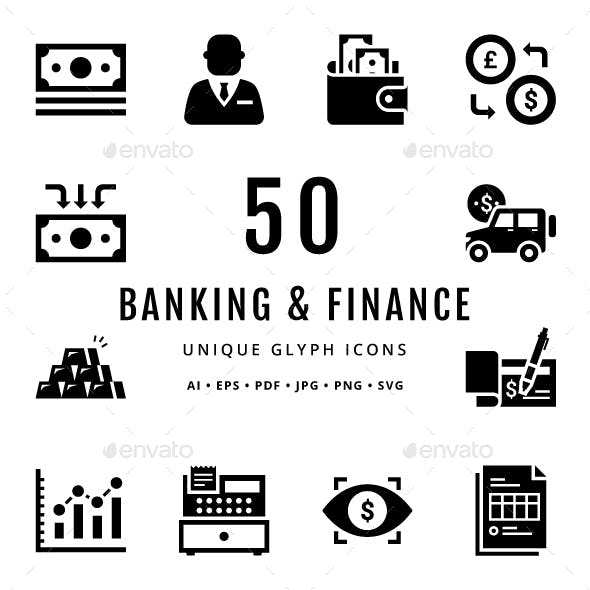 Banking and Finance Unique Glyph Icons