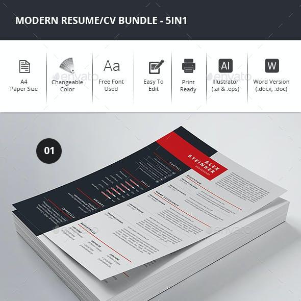 Modern Resume/CV Bundle - 5in1